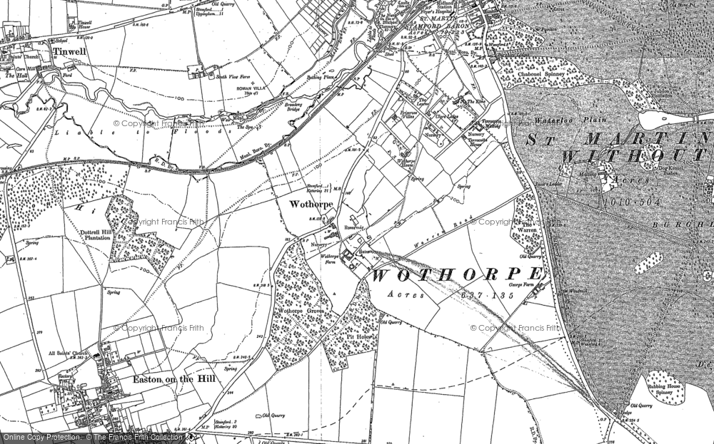 Old Map of Historic Map covering Wothorpe Ho in 1885
