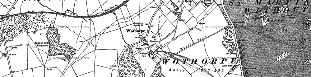 Old map of Wothorpe Ho in 1885