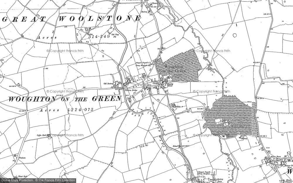 Old Map of Historic Map covering Woolstone in 1924