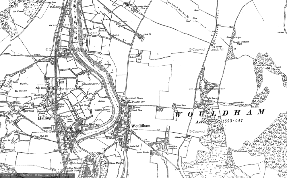 Map of Wouldham, 1895 - 1896