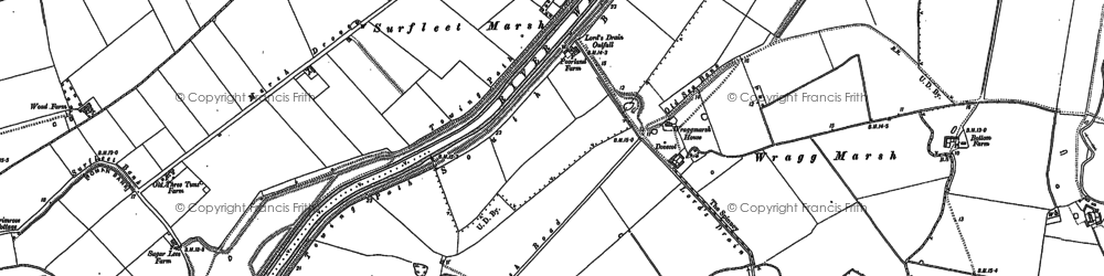 Old map of Wragg Marsh Ho in 1886