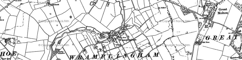 Old map of Wramplingham in 1882