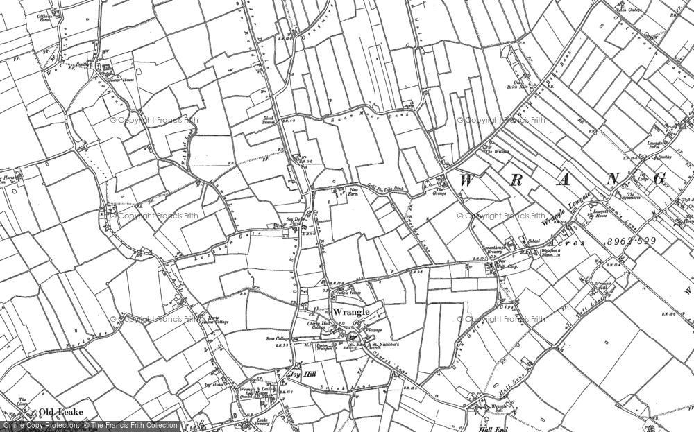 Old Map of Historic Map covering Wrangle Common in 1887