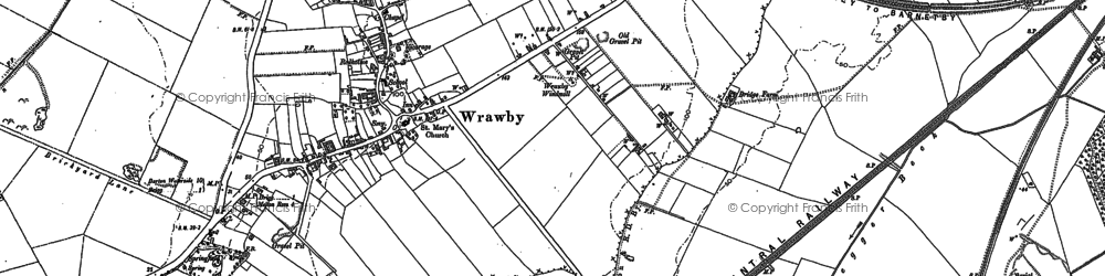 Old map of Wrawby Carrs in 1885