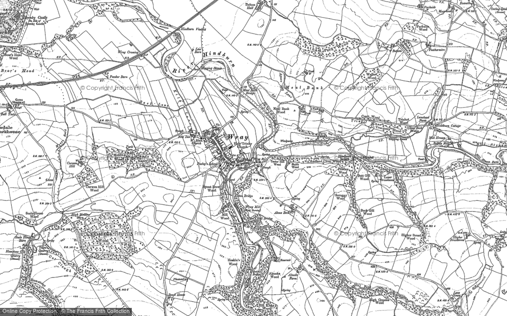 Old Map of Historic Map covering Above Beck in 1910