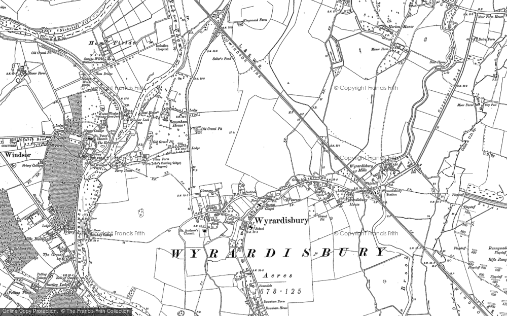 Map of Wraysbury, 1910 - 1932