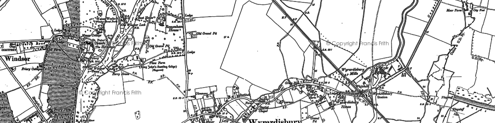 Old map of Wraysbury in 1910