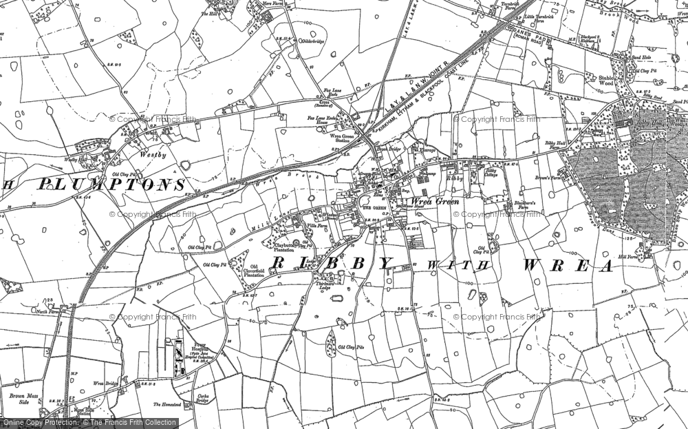 Old Map of Wrea Green, 1892 in 1892