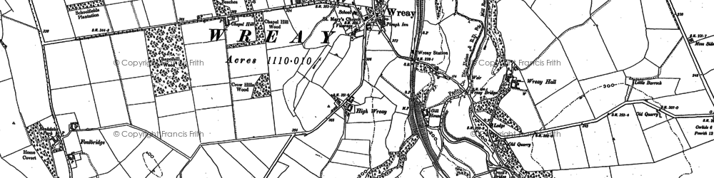 Old map of Wreay in 1899