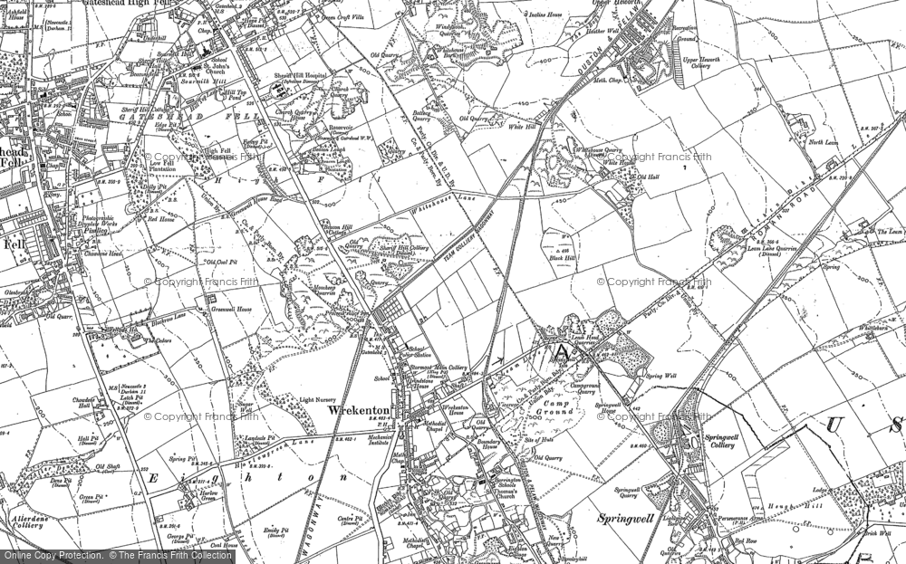 Old Map of Historic Map covering Beacon Lough in 1895