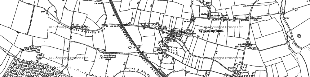 Old map of Wreningham in 1882