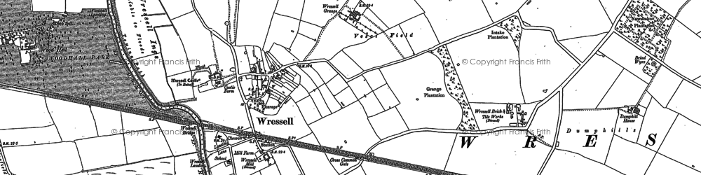Old map of Wressle Grange in 1889