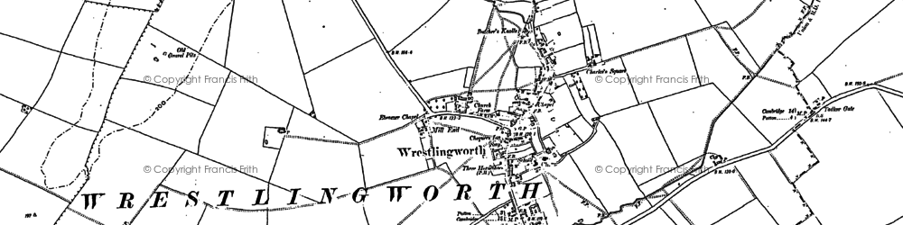 Old map of Wrestlingworth in 1882
