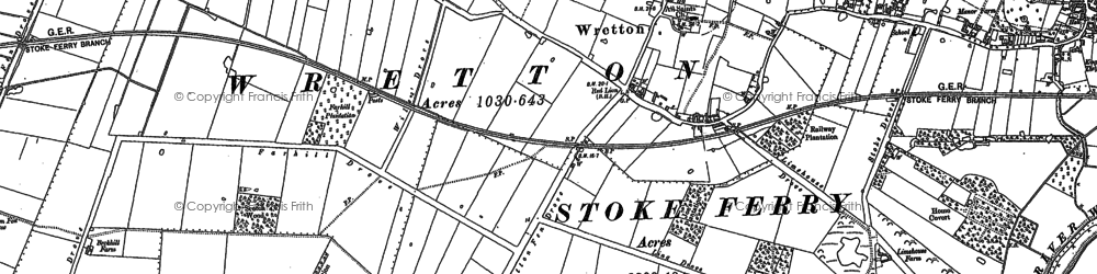 Old map of Wretton in 1884