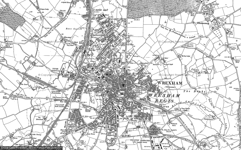 Map of Wrexham, 1898 - 1909