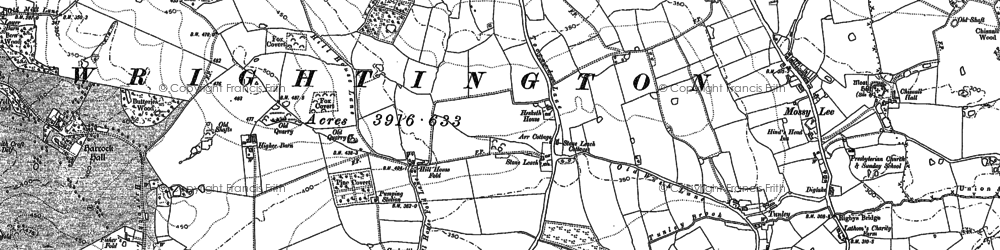 Old map of Wrightington in 1892