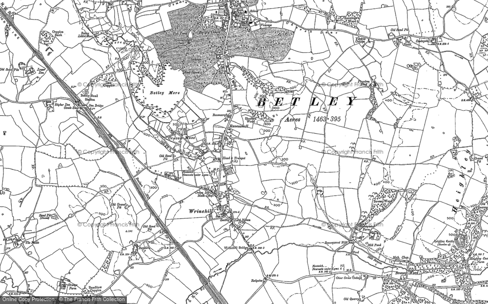 Old Map of Wrinehill, 1878 - 1898 in 1878