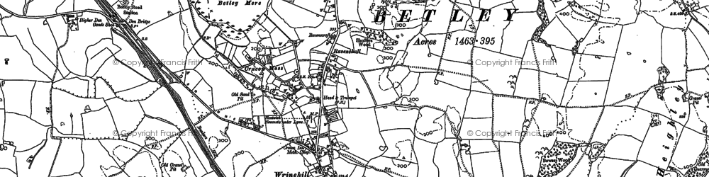 Old map of Wrinehill in 1878