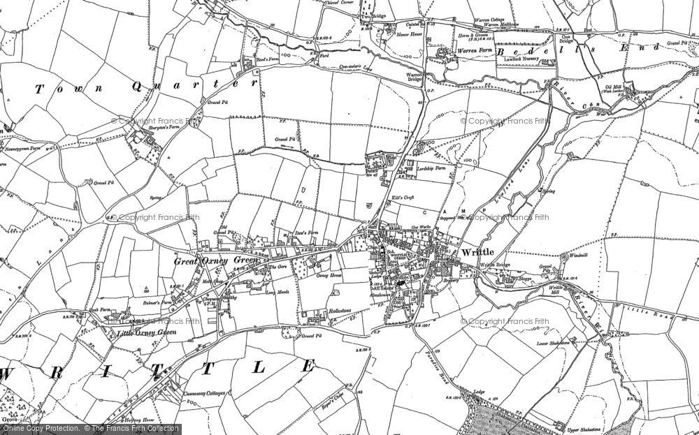 Old Map of Writtle, 1895 in 1895
