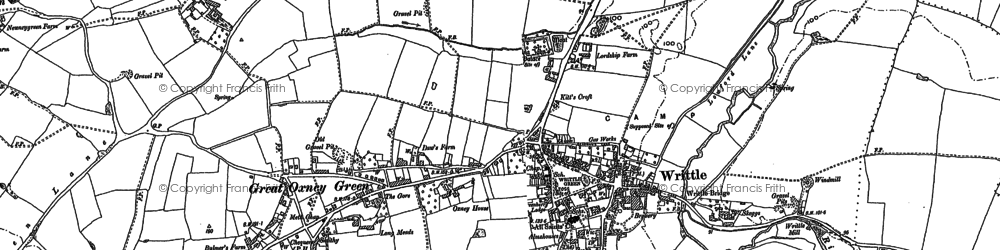 Old map of Writtle in 1895