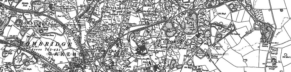 Old map of Wrockwardine Wood in 1881