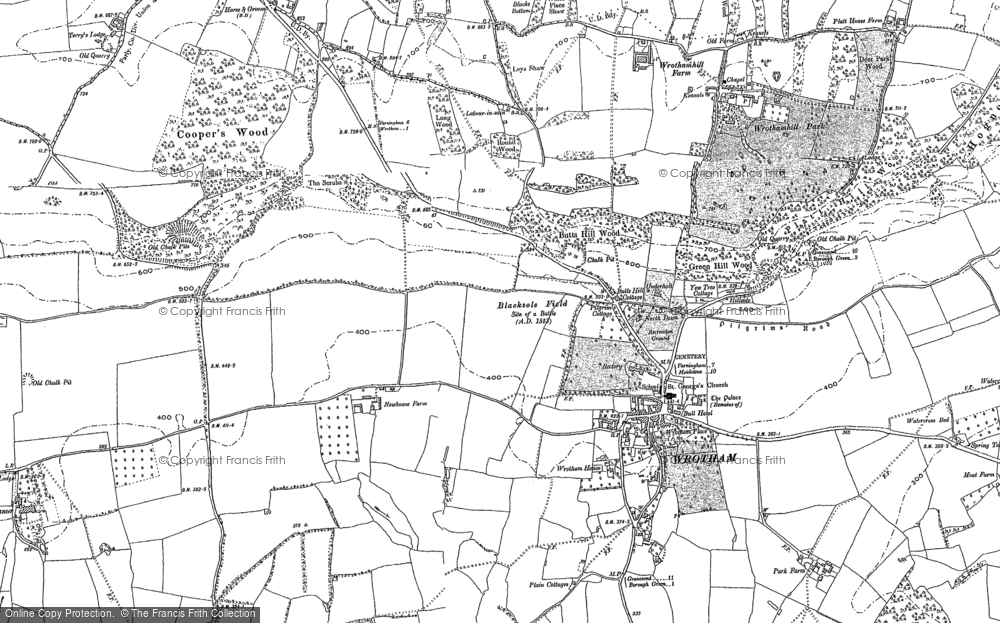 Old Map of Wrotham, 1895 in 1895