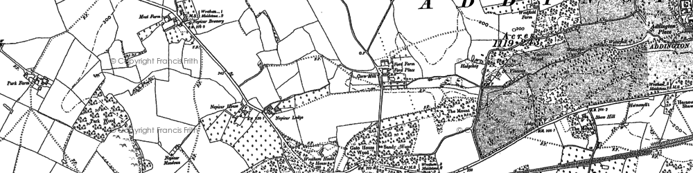 Old map of Wrotham Water in 1895