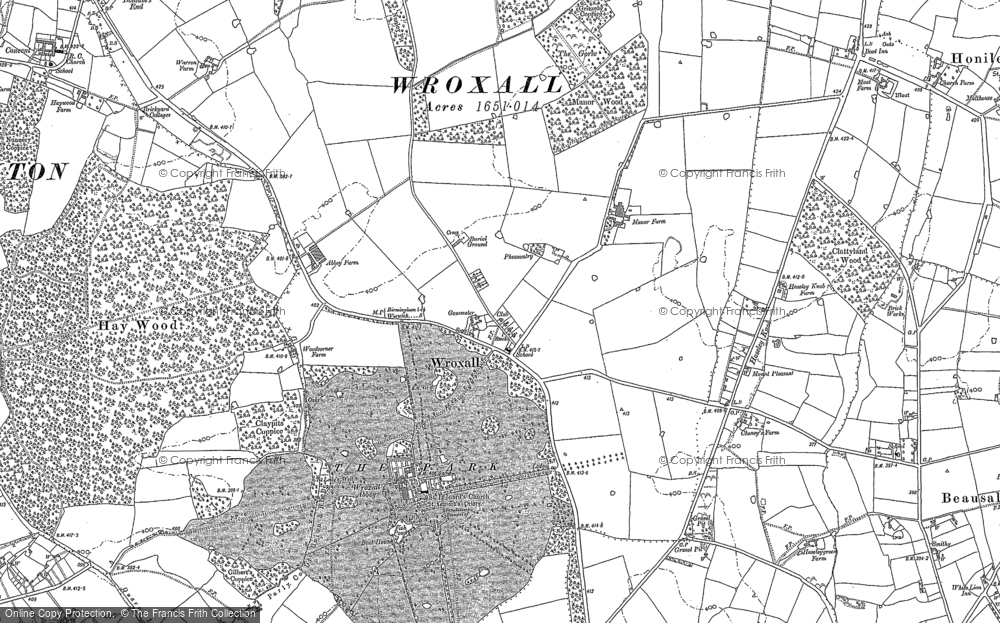 Old Map of Historic Map covering Baddesley Clinton in 1886