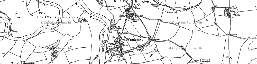 Old map of Wroxeter Roman City in 1881