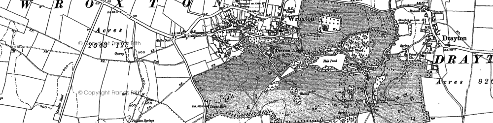 Old map of Wroxton Abbey in 1899
