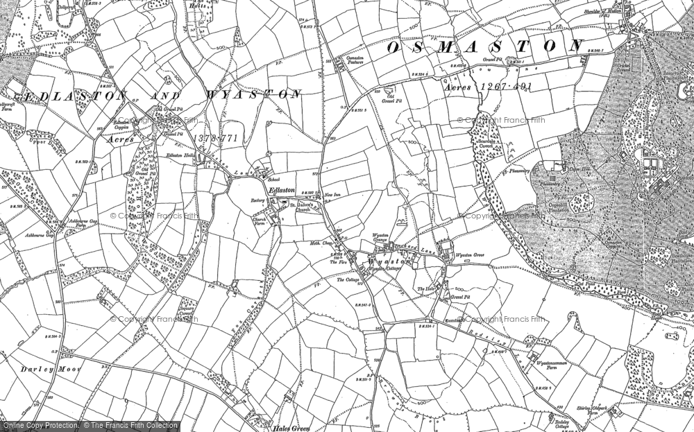 Old Map of Wyaston, 1880 in 1880