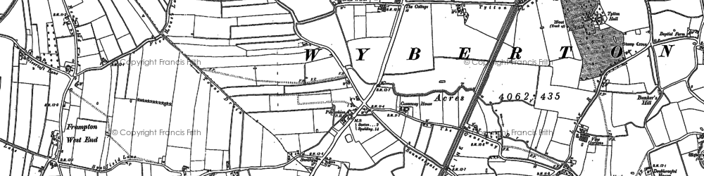 Old map of Wyberton in 1887