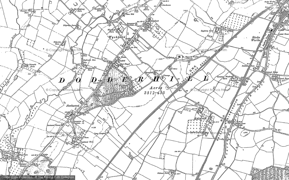 Old Map of Historic Map covering Astwood in 1883
