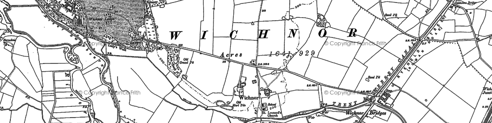 Old map of Wychnor Bridges in 1882