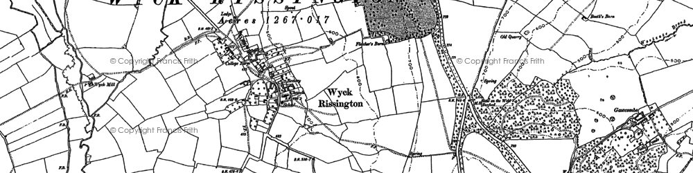Old map of Wyck Rissington in 1900