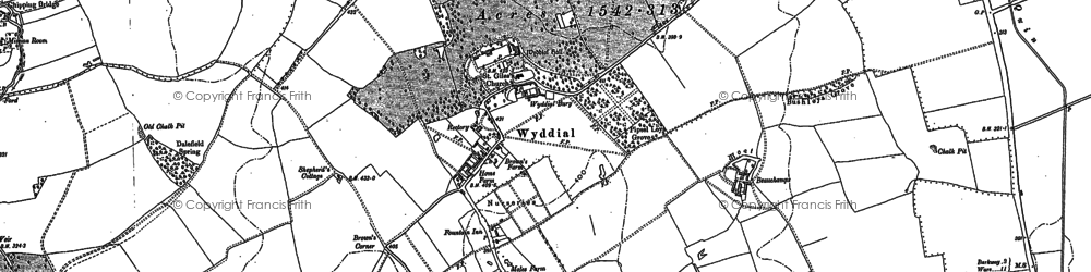 Old map of Wyddial Hall in 1896