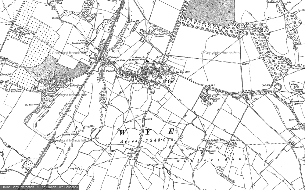 Old Map of Historic Map covering Wye Court in 1896