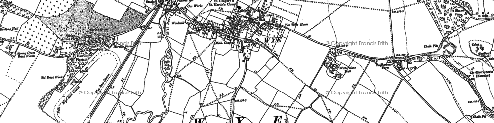 Old map of Wye Downs in 1896