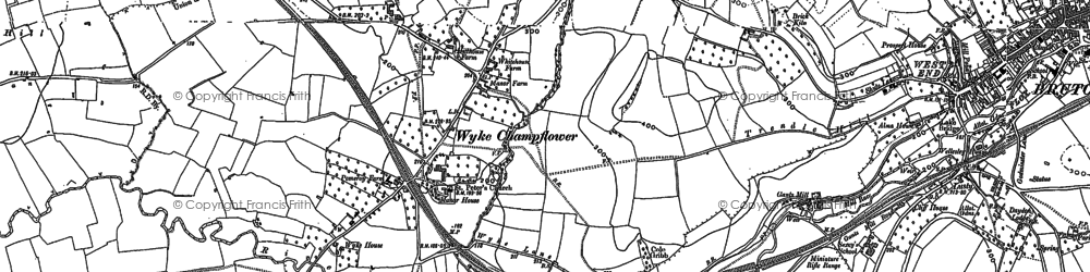 Old map of Wyke Champflower in 1896