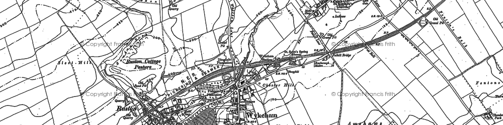 Old map of Wykeham Abbey in 1889