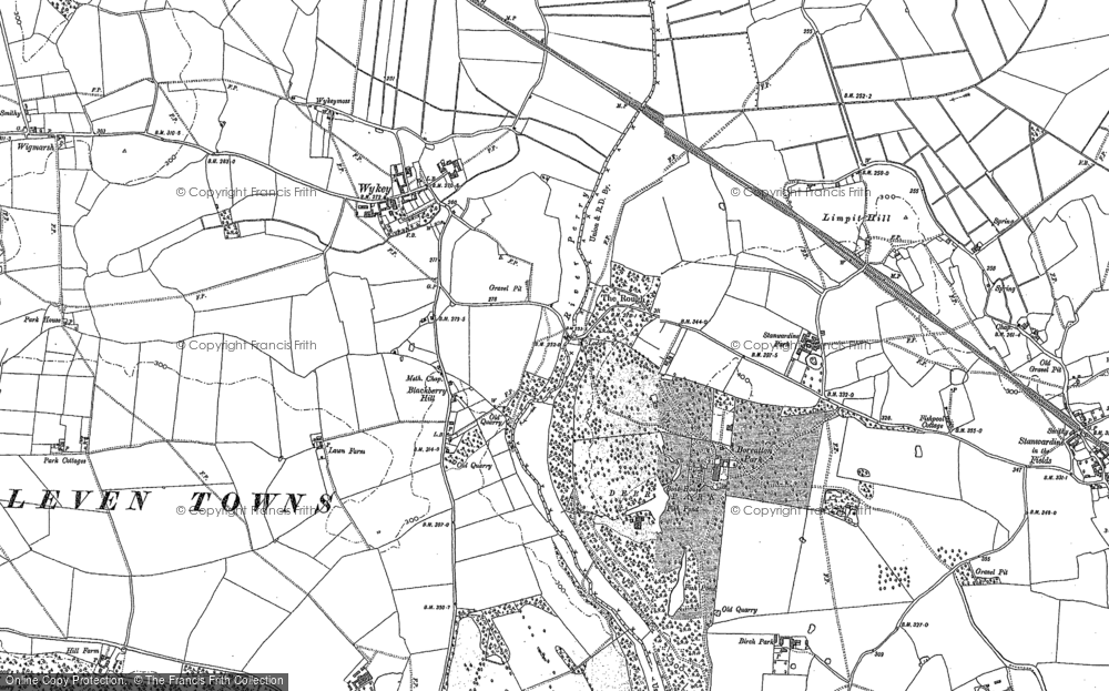 Old Map of Historic Map covering Limpit Hill in 1880