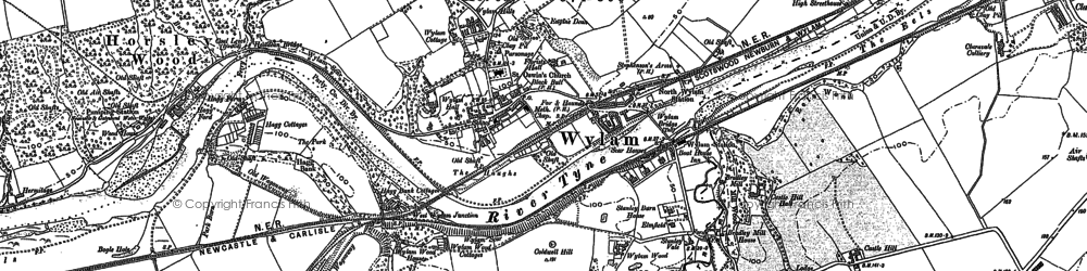 Old map of Wylam in 1914