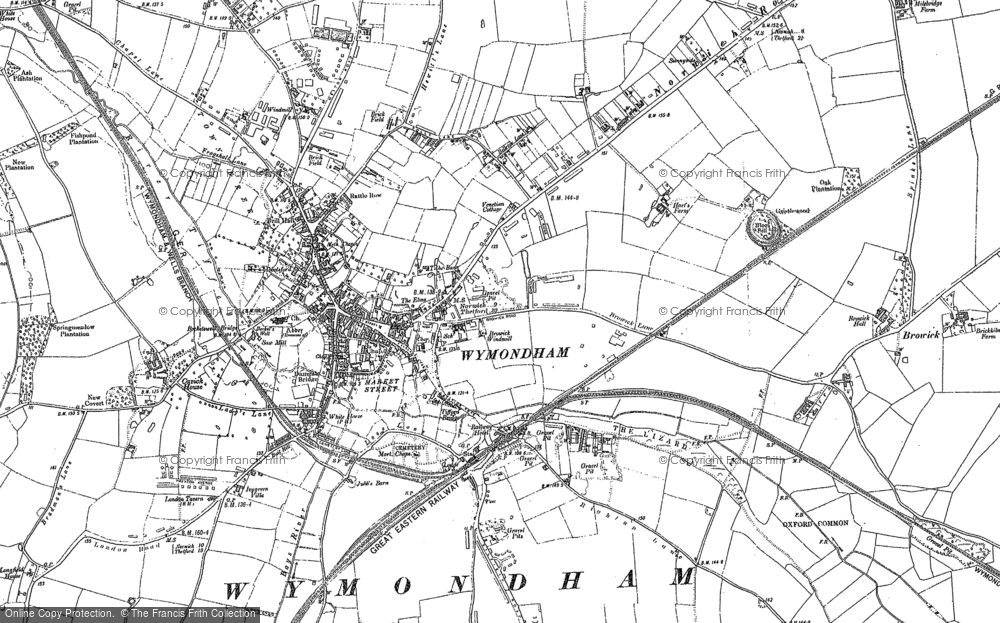 Old Map of Wymondham, 1882 in 1882