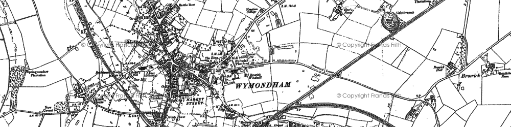 Old map of Wymondham in 1882