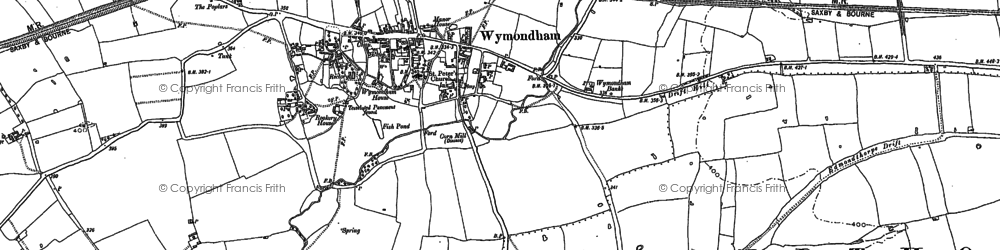 Old map of Wymondham in 1902