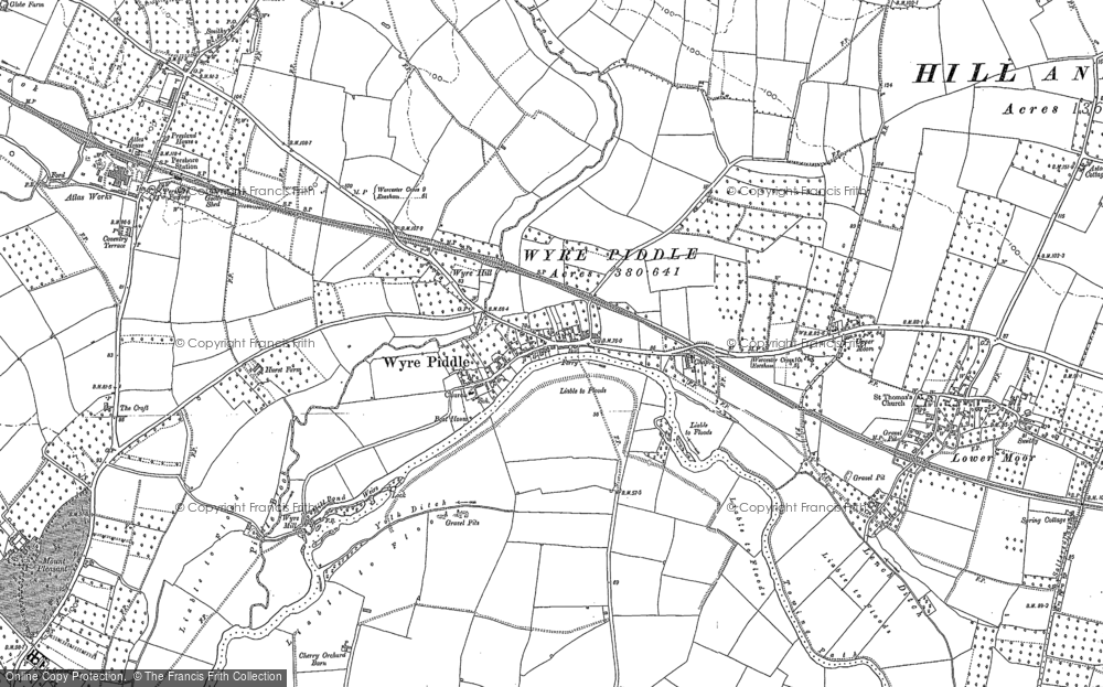 Old Map of Wyre Piddle, 1884 in 1884