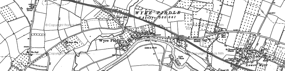 Old map of Wyre Piddle in 1884