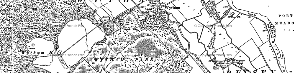 Old map of Wytham in 1911
