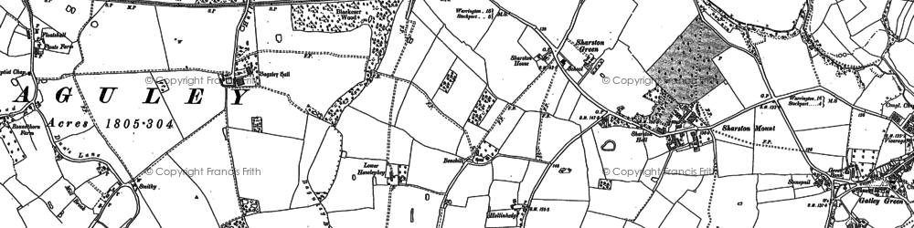 Old map of Baguley Hall in 1897