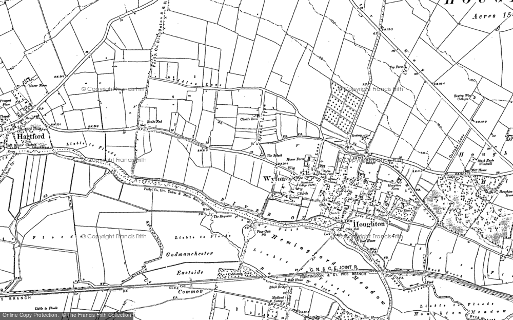 Old Map of Wyton, 1885 - 1887 in 1885